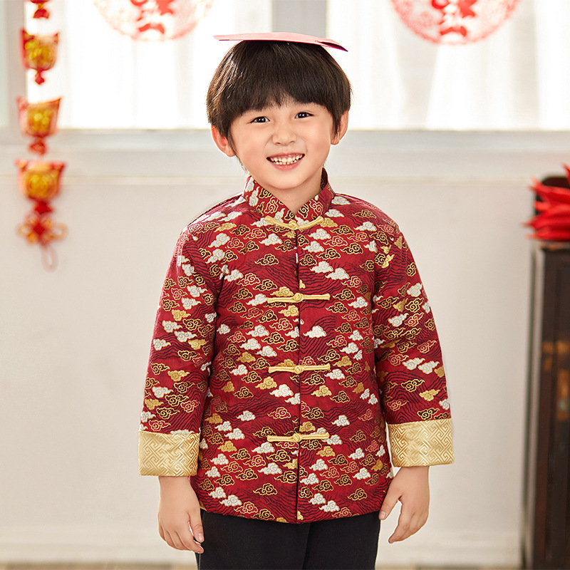 New Boys Hanfu Chinese Style Boys Party Tang Suit Kids Chinese New Year Clothes Boys Traditional China Spring Coat image