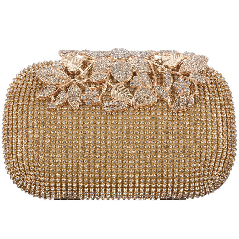 Unique Gold Rhinestone Evening bag Clutch Purse Party Bridal Prom