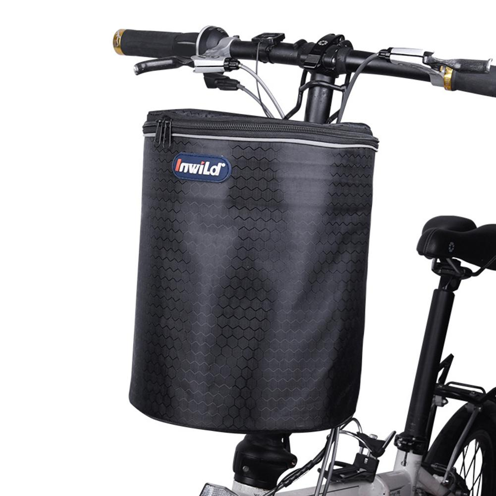 For Electric Scooter Bike Front Basket Waterproof Canvas Storage w// Hook Bracket