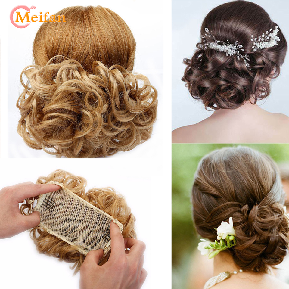 MEIFAN Women Easy Clip In Big Hair Bun Rubber Band Chignon With Two Comb Wave Curly Synthetic Wigs Ponytail Extensions
