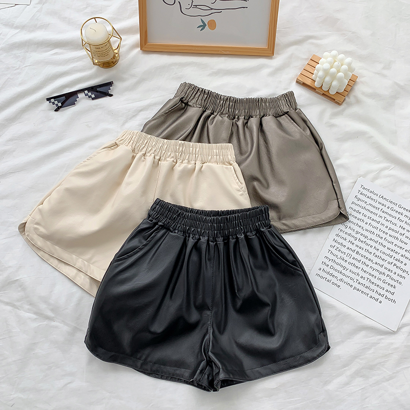 Artificial Leather Wide-legged Shorts Autumn Winter Women Simple Elastic Waist PU Shorts Girls A-line Shorts Bottoms