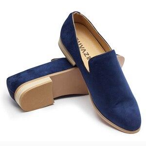 Image 4 - حذاء رجالي جديد موضة 2018 من جلد الغزال بدون كعب حذاء أكسفورد للرجال غير رسمي حذاء رجالي بمقدمة مدببة