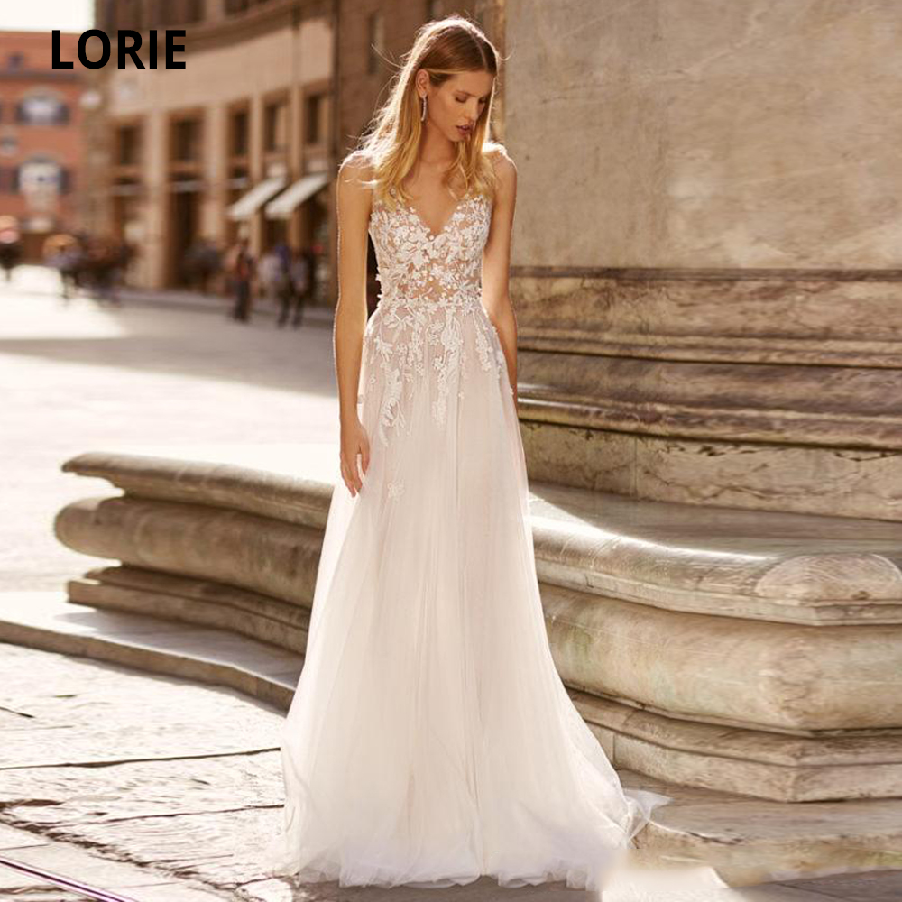 LORIE Simple V-neck Wedding Dresses Lace Appliques Soft Tulle Beach Bridal Gown 2020 Plus Size Boho Bride Dresses Custom Made