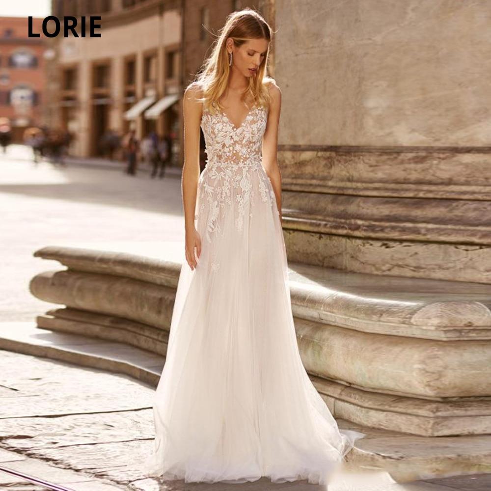 LORIE Simple V-neck Wedding Dresses Lace Appliques Soft Tulle Beach Bridal Gown 2020 Plus Size Boho Bride Dresses Custom Made