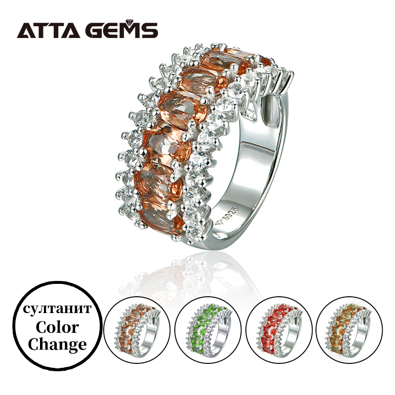Diaspore Sterling Silver Rings For Women Wedding Engagement Band 6.8 Carats Created Sultanite Faced Cut Exquisite Design Rings