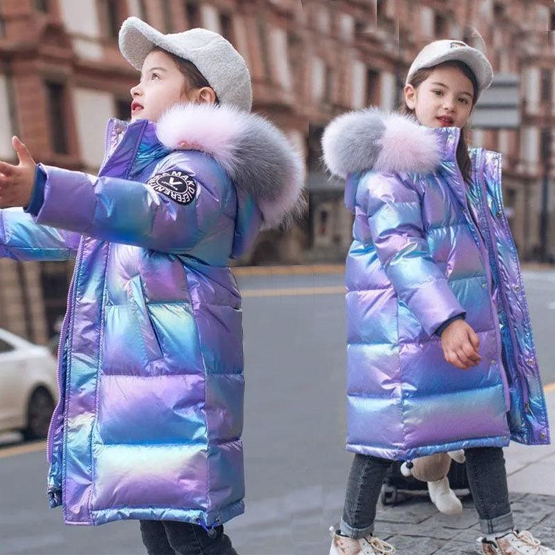 Зимняя блестящая куртка для девочек теплая одежда с капюшоном для девочек зимнее пальто От 5 до 15 лет, Детские подростковые хлопковые куртки...