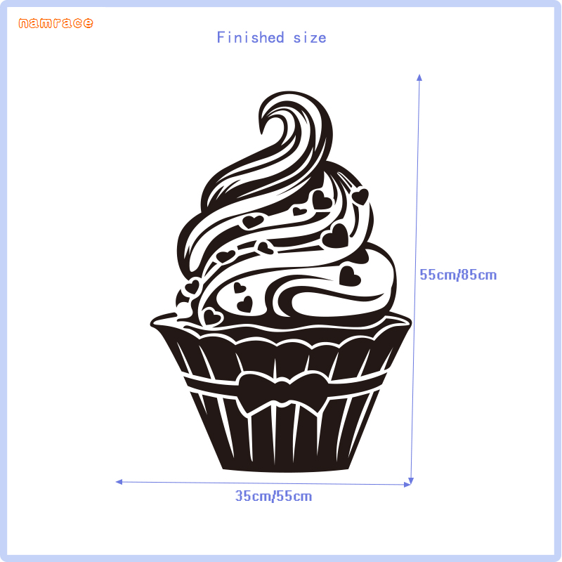 Colour Party Muffin Cup Cake Shapes 10 Pack Vinyl Wall Sticker Choose Size