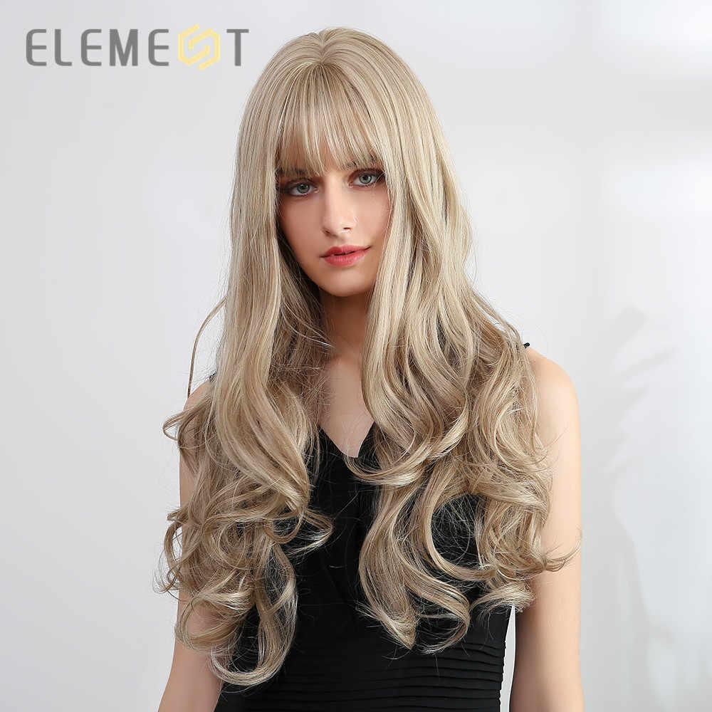 Element Lange Mix Blonde Gouden Pruiken Met Pony Synthetische Body Wave Pruiken Voor Wit/Zwarte Vrouwen Party Of Dagelijks dragen