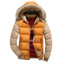Winter men down jacket coat bristle collar hooded casual large size cotton plus velvet thick parka 4XL