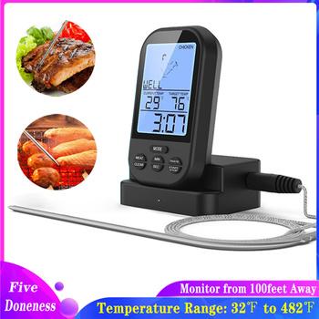Bezprzewodowy cyfrowy termometr do mięsa-zdalny Grill kuchnia termometr do gotowania do piekarnika Grill palacz z timerem-w zestawie próbnik do żywności tanie i dobre opinie CN (pochodzenie) Temperature probe Wykonane maszynowo węgiel 1 kg Gotowanie pieczenia grill Plastic+Stainless Steel