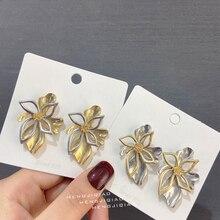 MENGJIQIAO Wholesale Fashion Vintage Gold Color Metal Flower Big Stud Earrings For Women Girls Personality Statement Oorbellen