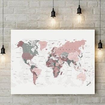 Póster de mapa del mundo para decoración de dormitorios, cuadro decorativo de arte de pared moderno, estampado de rubor rosa y verde cazador, impresiones en lienzo