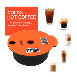 Refillable Reusable Coffee Capsule Pods Cups, Coffee Capsule Pod with Slicone Lid Compatible with Bosch Tassimo 60/180ml