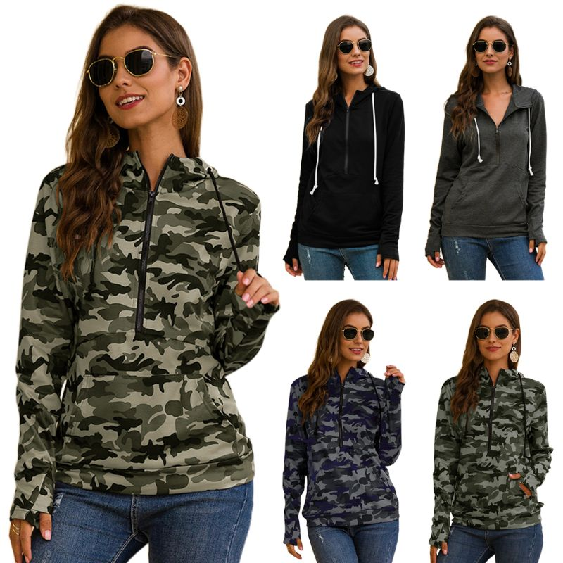 Women Autumn Long Sleeve Half Zipper Camouflage Sweatshirt Drawstring Hoodies Casual Loose Pullover Tops With Pocket Thumb Holes