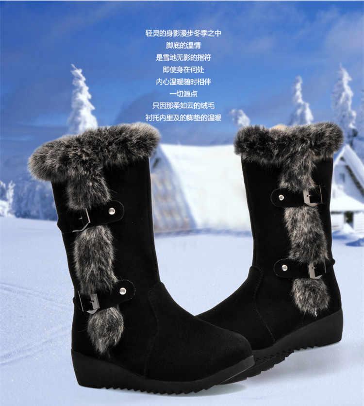 MHYONS/Новинка 2018 года; популярные женские ботинки; сезон осень-зима; Модные женские зимние сапоги из флока; замшевые сапоги до середины икры