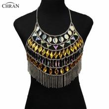 Chran Women Sexy Sparkly Crop Top Summer Exotic Tassel Necklace Beach Vest Bra Bralette Gem Mirror Festival Wear Jewelry