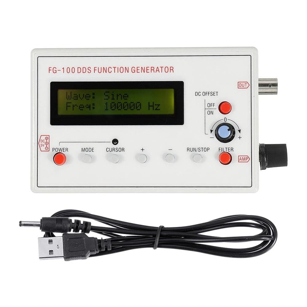 Генератор сигналов DDS 1602 с ЖК-дисплеем, 1 Гц-500 кГц, функциональный синусоидальный треугольник, квадратная частота, форма пилообразной волны