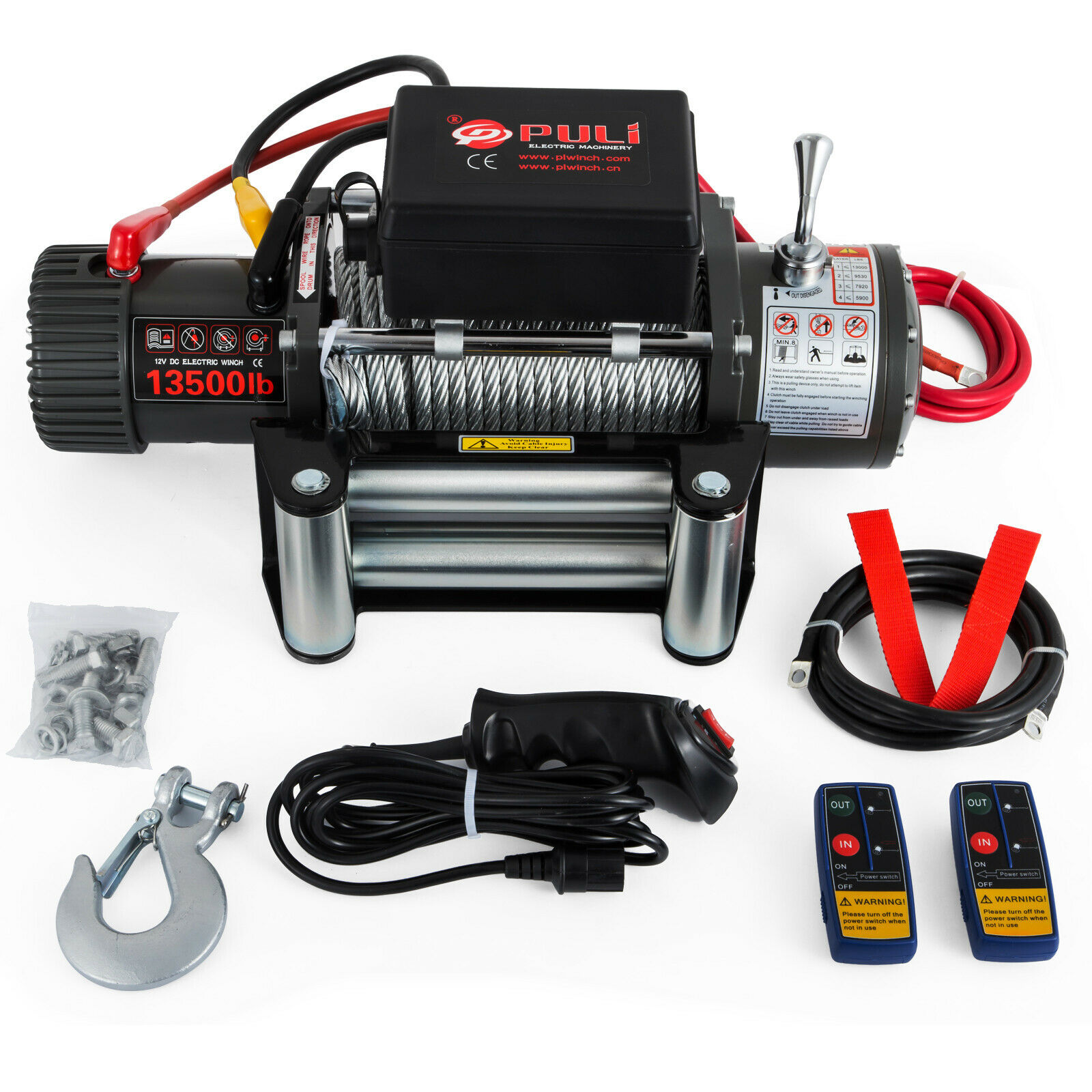 Electric Winch 12V 1360/1810/2720 / 6120kg Roll Steel Powerful [6120KG Synthetic Rope]
