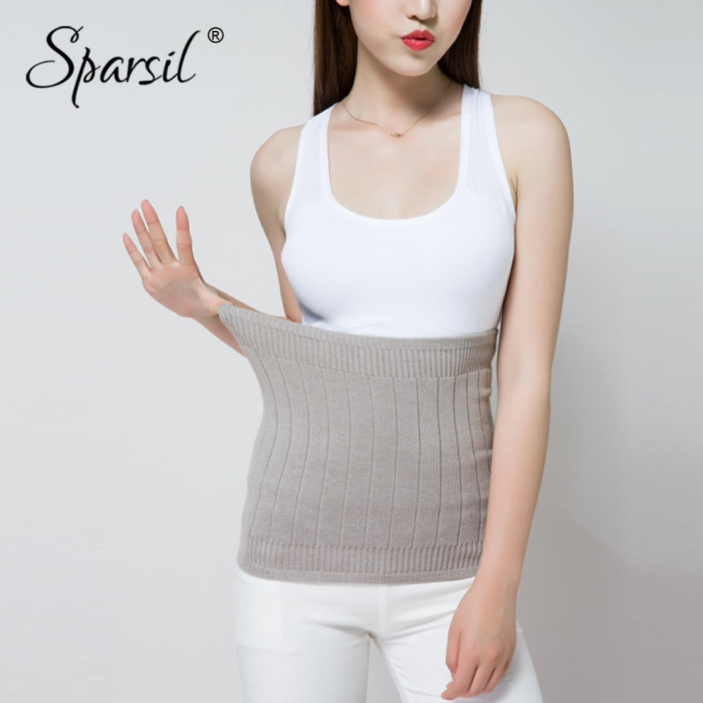 Sparsil Women 2018 Winter Cashmere Waist Back Support Thick Knited Cummerbund Slim Female Exercise Warm Waist-Protector Belt