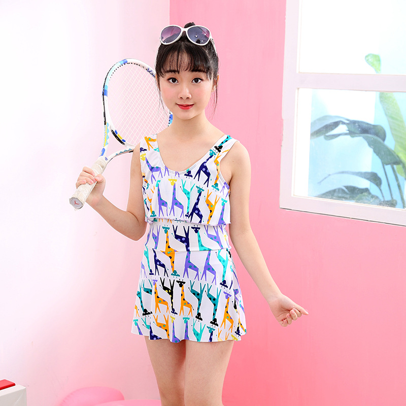 2019 New Style Women's Big Boy Boxer One-piece Swimming Suit Cute Korean-style Cartoon Hipster Children One-piece Swimwear