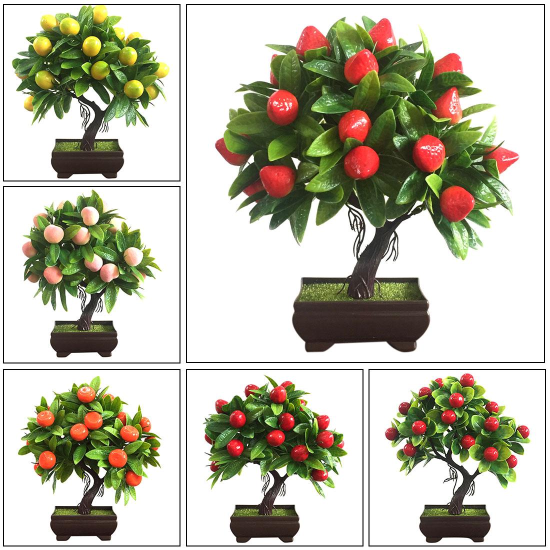 1pcs Artificial Orange Plastic Pots+Small Fruit Tree Plant Bonsai Potted For Home Living Room Flower Set Shop Hotel Party Decor