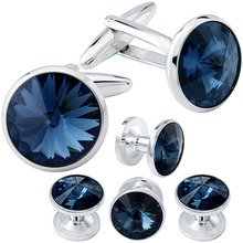 HAWSON Cufflink and Studs Tuxedo Set Silver Color with Crystals in Jet Hematite, Dark Blue, Crystal Grey,Purple, Green