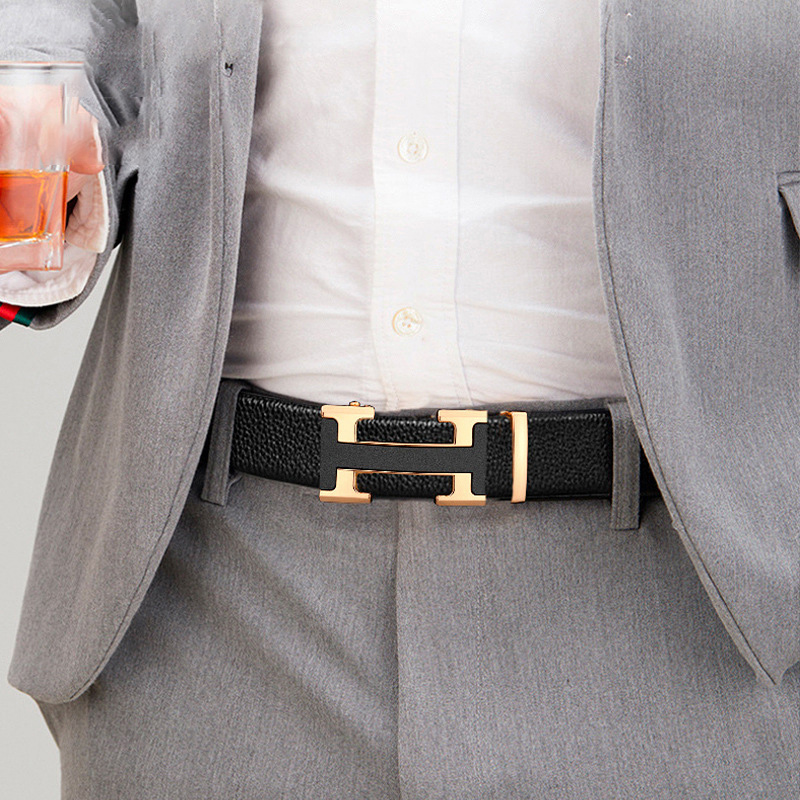 Men's Leather Belt Microfiber Wear-Resistant PU Leather Belt for Men Personality Trend Automatic Buckle Belt