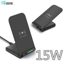 DCAE Soporte de cargador inalámbrico para iPhone, estación de carga rápida Qi de 15W para iPhone 11 Pro X XS 8 XR Samsung S9 S10 S8 USB C