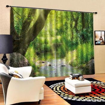 nature scenery Customized size Luxury Blackout 3D Window Curtains For Living Room green landscape curtains