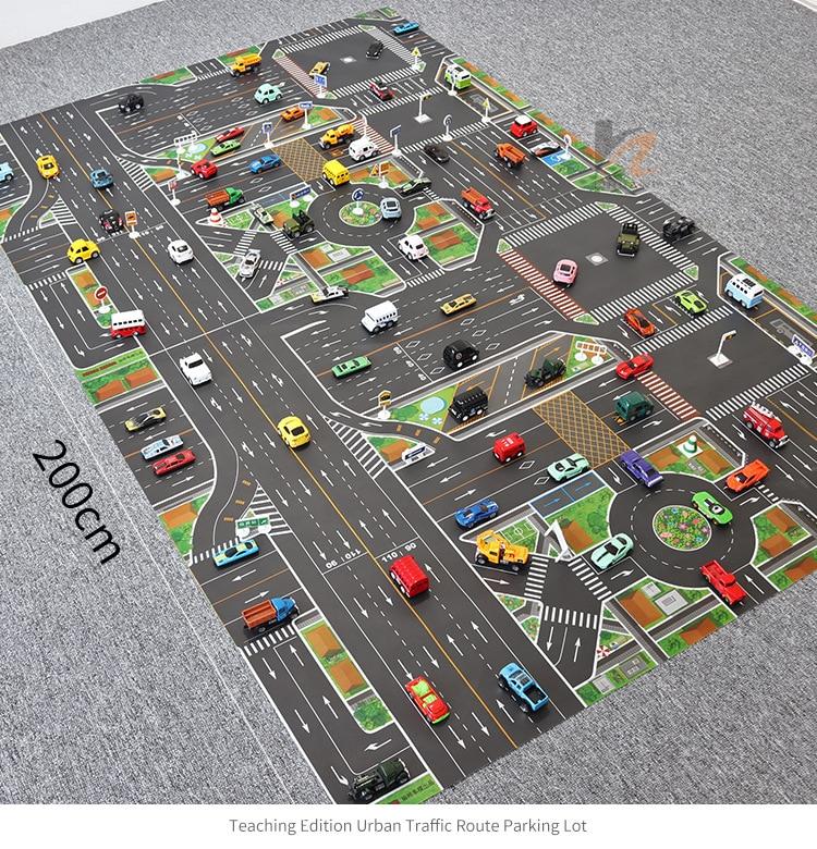 Kids Play Mat Carpet Rugs Game Mat Car Track Rugs Road Print Crawling Mat Blanket Floor Carpet Baby Room Decoration