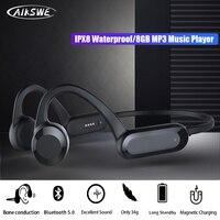 AIKSWE Schwimmen Kopfhörer Knochen Leitung Bluetooth Drahtlose Kopfhörer 8GB IPX8 Wasserdichte MP3 Musik Player Stereo Sport Headset