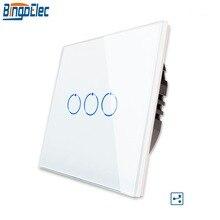 Bingoelec interruptor de luz táctil de 3 entradas y 2 vías, interruptor de pared con Panel de cristal y Sensor táctil para escalera