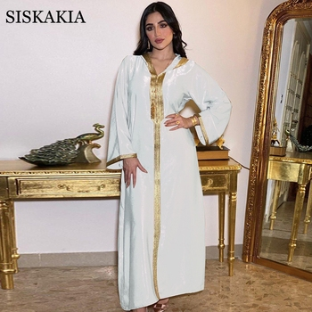 Moroccan Caftan Ramadan Eid Hooded Abaya Dress for Women Summer 2021 White Champagne Modest Muslim Arabic Oman Moroccan Caftan Jalabiya 1