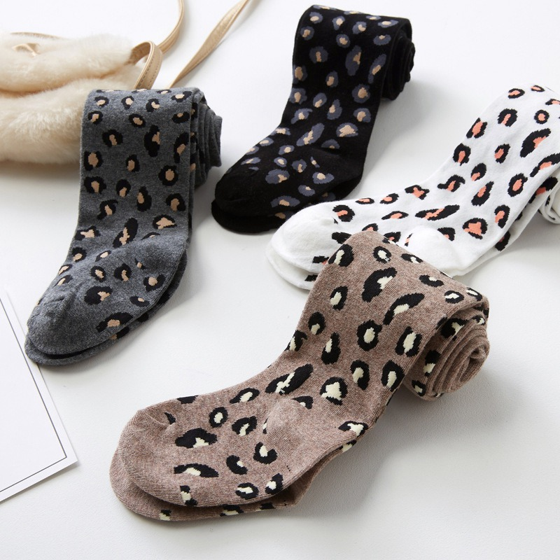 Autumn Children Skinny Tights Kids Soft Cute Cotton Pantyhose Pants Baby Girls Stretchy Leopard Print Trousers Bottom