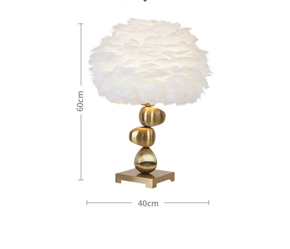Modern Fancy Gold and Feather Table Lamp
