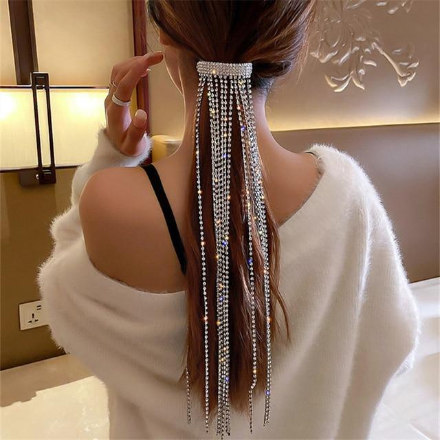 FYUAN Shine Full Rhinestone Hairpins for Women Bijoux Long Tassel Crystal Hair Accessories Wedding Banquet Jewelry 2