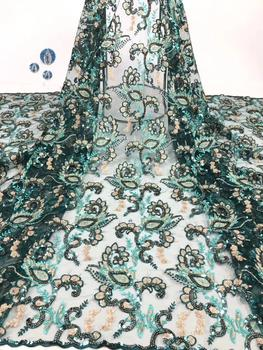 beautiful african french lace fabric with sequins 5yards good quality african net tulle lace fashion style for dress DPOC162
