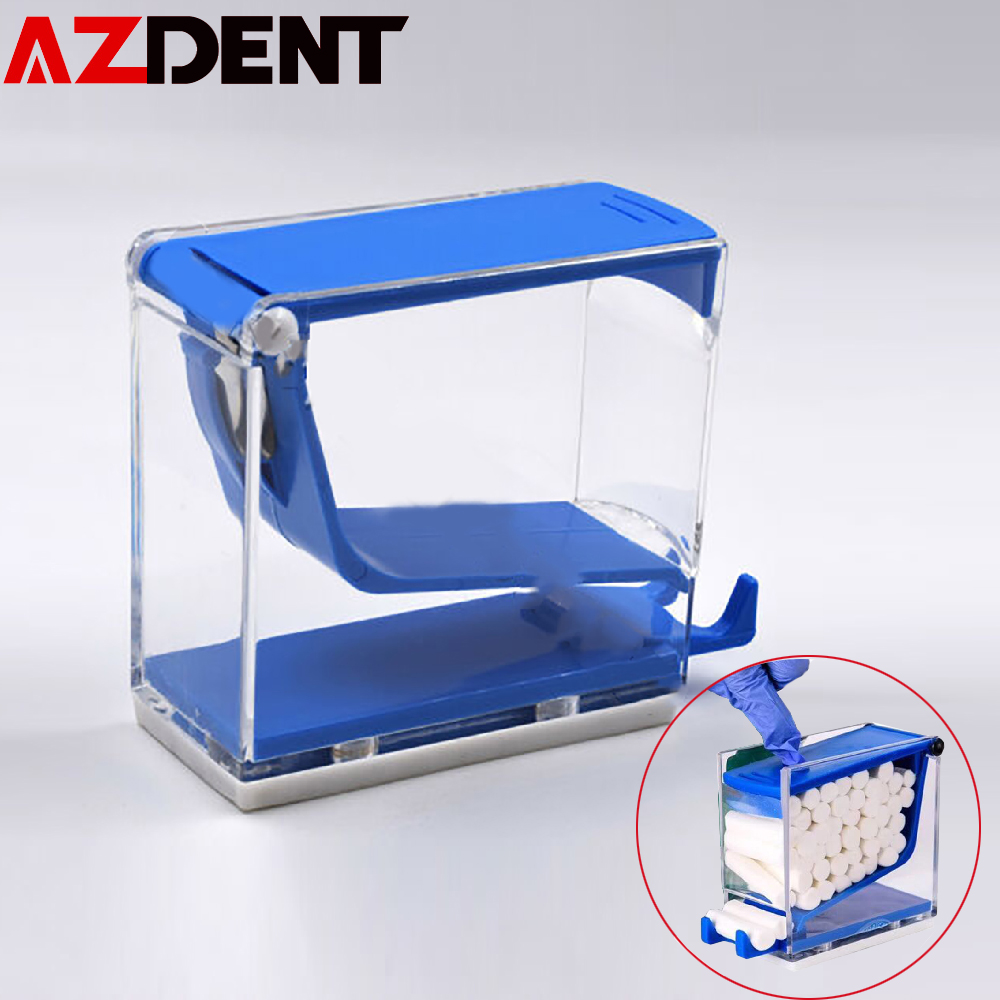 Azdent Dental Orthodontic Dentist Cotton Roll Dispenser Holder Storage Organizer Press Type Box Random Color