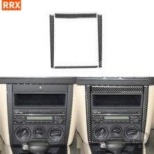 Pegatinas de fibra de carbono negra para interiores, marco de Panel de Control Central de CD, CA, accesorios de coche para Volkswagen VW Golf 4 MK4 1999-2004