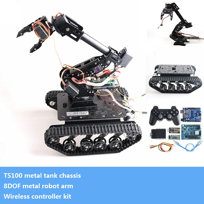 Metal 8DOF Vehicle Robot Platform 8-Axis Robotic Arm & Claw+ Smart Crawler Tank Chassis+ Wireless Controller Kit DIY For Arduino