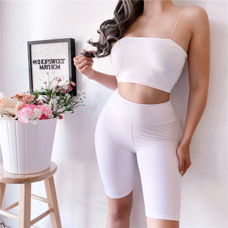 Women Streetwear Casual Shorts Fashion Elastic High Waist Solid Color Shorts Sexy Lady Summer Skinny Hip Shorts