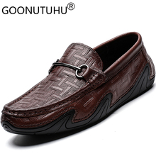 2019 style fashion men's shoes casual genuine leather loafers male cowhide slip on shoe man flats driving shoes for men hot sale genuine cowhide leather men s casual shoes autumn fashion crocodile grain slip on flats shoe