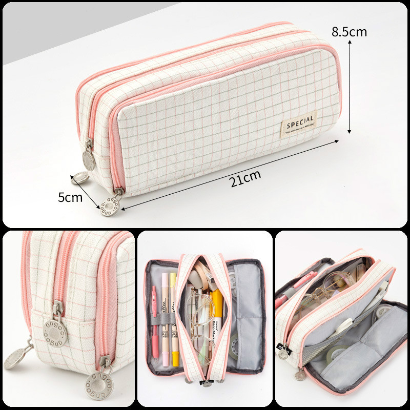 Купить со скидкой Large Capacity Pencil Case Kawaii Canvas Pencilcase School 40Pcs Pen Case Supplies Pencil Bag School
