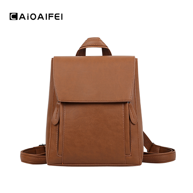 CAIOAIFEI New Vintage Casual Women Backpack High Quality Waterproof PU Leather Women Rucksack Hotsale Ladies Shoulder Travel Bag