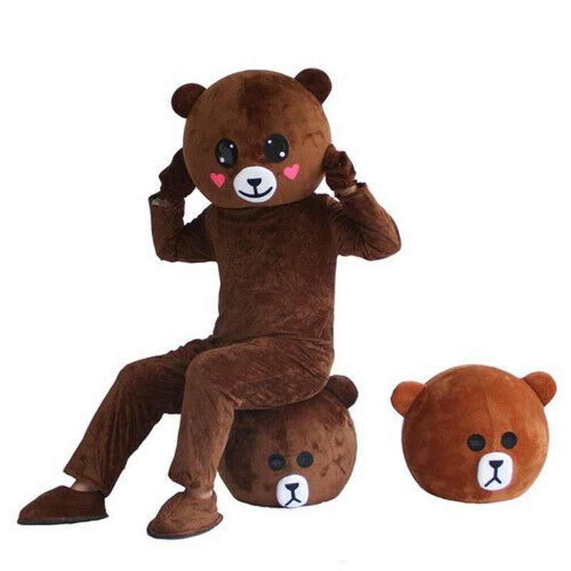 Details about  /Furry Brown Teddy Bear Mascot Costume Cartoon Character Cosplay Party Adult