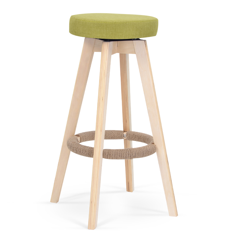 European Bar Stools Solid Wood  Chair Retro   Rotating High    Bench Front  Simple Pastoral Style