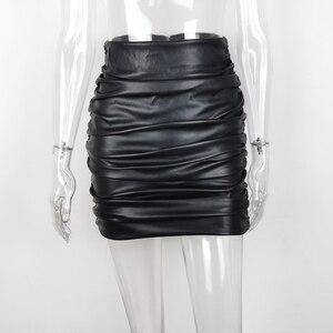 Image 3 - JillPeri kadın PU deri Kylie etek seksi dantelli yüksek bel siyah kısa Mini alt streç tatil parti etek