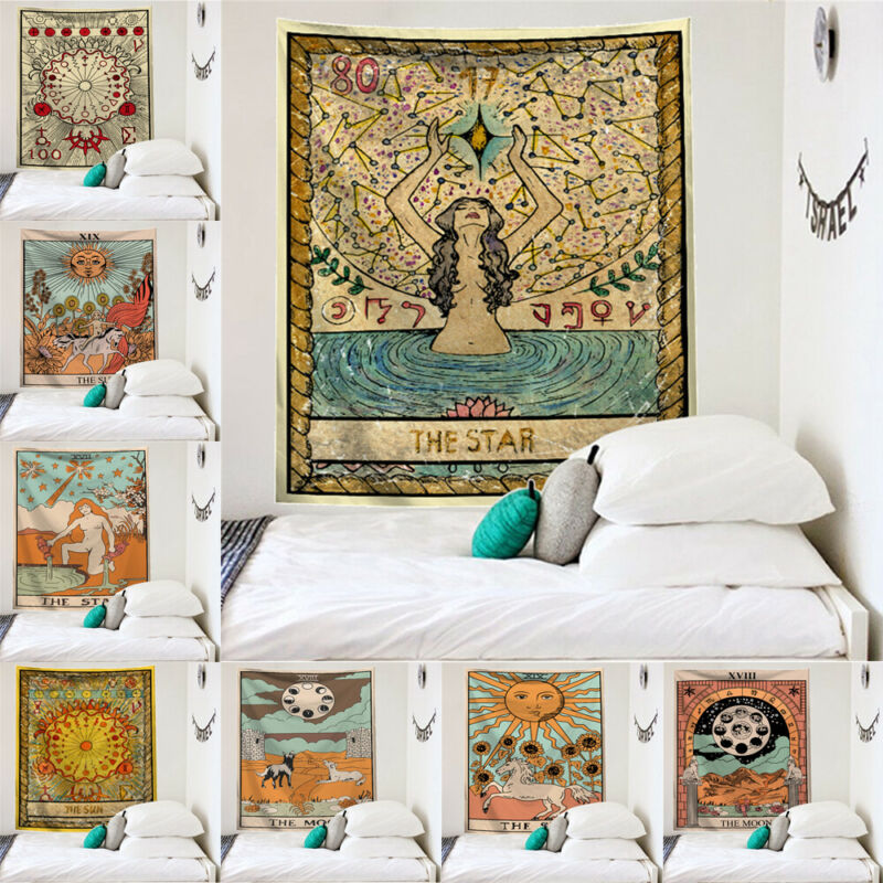 2019 India Wall Hanging Tapestry Sun Moon Tarot Wall Mandala Home Decor Psychedelic Carpet Tapestry Witchcraft Wall Tapestries