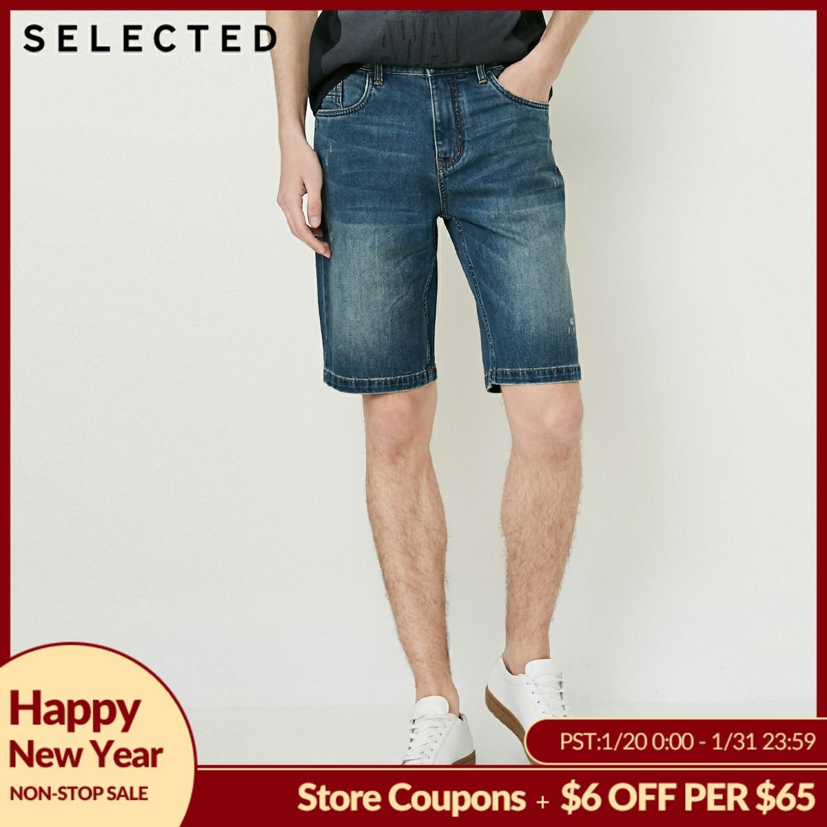 SELECTED Men Shorts Cotton-blend Washed Leisure Breeches Jean Summer Denim Shorts Streetwear C|4182S3511
