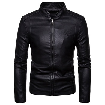 Autumn 2019 new mens Korean version of the slim stand collar large size British PU leather jacket
